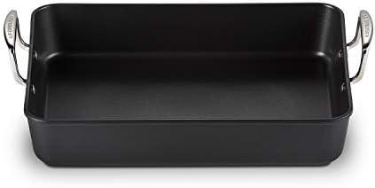 Le Creuset, Plat à Rôtir Anti-Adhérent en Fonte d'Aluminium, 34 x27 cm, Sans PFOA, Compatible avec Toutes Sources de Chaleur (y Compris Induction), Anthracite/Argenté