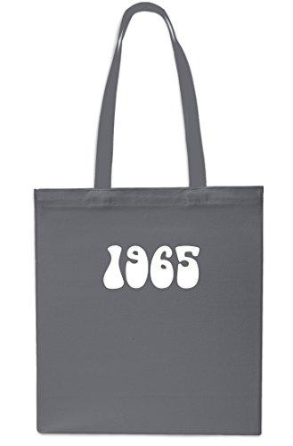1965 Year Birthday Anniversary Tote Shopping Gym Beach Bag 42cm x38cm, 10 litres-NAVY GREY