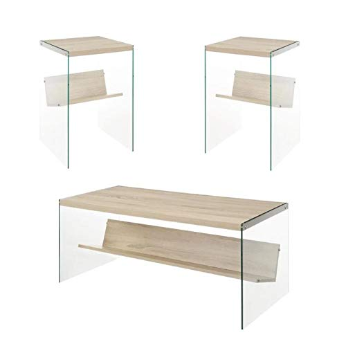 Soho 2 Piece Modern Coffee Table and Set of 2 End Table Set in Glass