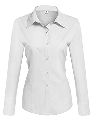 Hotouch Womens Long/Short Sleeve Cotton Basic Simple Button Down Shirt