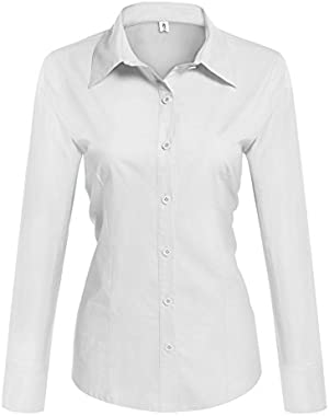 Womens Basic Long Sleeve Cotton Simple Button Down Shirt