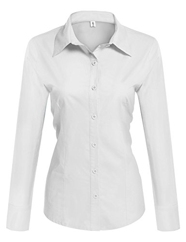 HOTOUCH Womens Longer Tail long Sleeve Oxford Shirt/White/Large