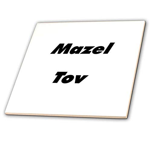 3dRose Lens Art by Florene - Jewish Humor and Sayings - Image of Large Size Words Mazel Tov - 6 Inch Ceramic Tile (ct_307332_2)