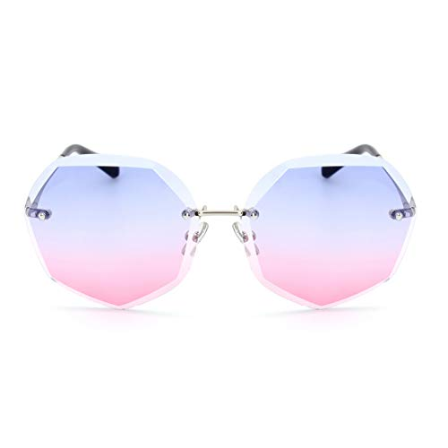 Sunglass Fashion Ladies Thin Frameless Fashion Sunglasses Women Anti-UV Tide Polygon Cut Edge Lens Sunglasses (Color : ()