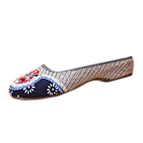 Chaussures Florales Chinoises Brodées Vintage Femme LIANPU Ballerines Mary Jane Ballerine Flat Ballet Cotton Loafer gray