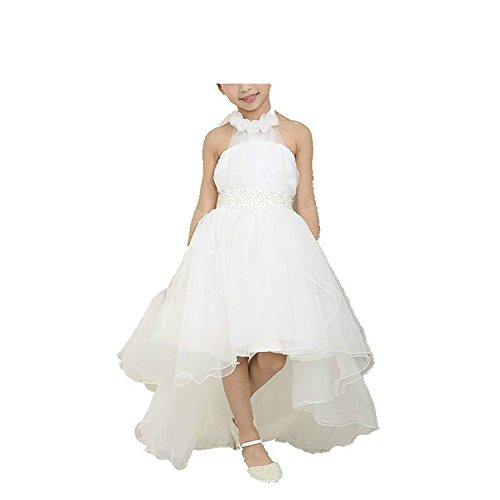 ylovego Flower Girl Dresses for Weddings Elegant Trailing Gown Fast Shipping Girls Princess Dress White (Princess Leia Wedding Dress)