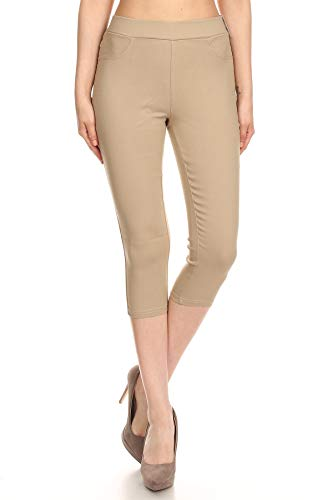 - Jvini Women's High Waist Pull-On Skinny Super Stretchy Capris Jegging (Large, Capri-Khaki)