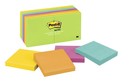 - Post-it Notes, America's #1 Favorite Sticky Note, 3 in x 3 in, Jaipur Collection, 14 Pads/Pack, 100 Sheets/Pad (654-14AU)