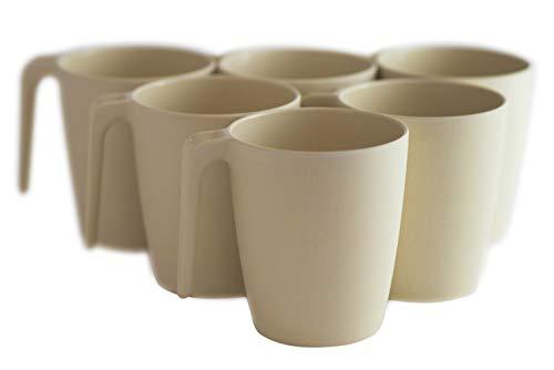 Natura Green- Bamboo Mugs- Set of 6-13 oz (390 ml) each (Ivory White)