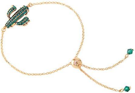 Kette Armreif Crystal Stone Embedded Green Cactus niedlichen Knöchel Armband lässig Mini Armband mit einstellbarer Legierung Bead für Frauen