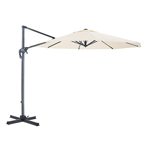 Cloud Mounatin 10 Ft Patio Umbrella Offset Outdoor Umbrella, 8 Ribs 100% Polyester with Cross Base Cantilever Hanging Umbrella, 360 Degree Rotation (Milk White)