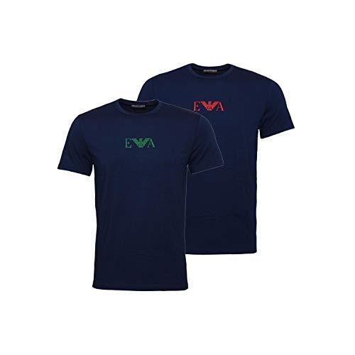 T Armani Da blu Intime Emporio 2 Uomo Rif 8a715 111267 shirt Blu Logo 27435 Pack qwxdT05d