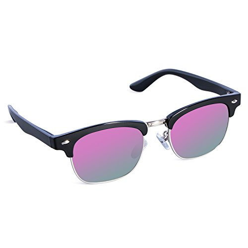 SEEKWAY Kid's Polarized Sunglasses Metal Frame Children Age 3-10 SKM3021 (Mirrored Lens Available) (Black, Purple Mirrored - Sunglasses Shaped Flame