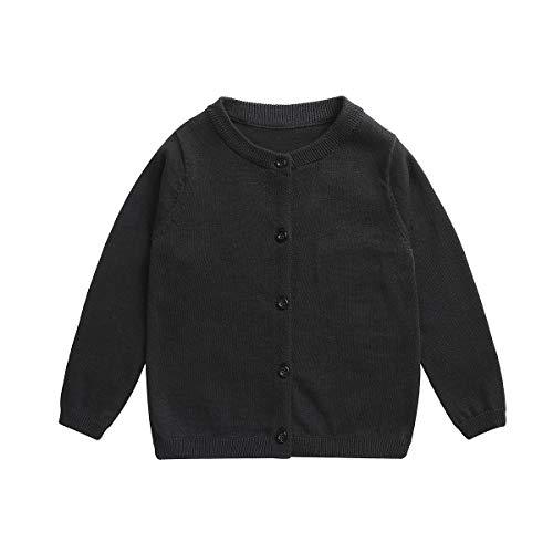 Little Girl Knit Cardigan Sweater - Toddler Button Down School Uniforms Cardigan 5T Black