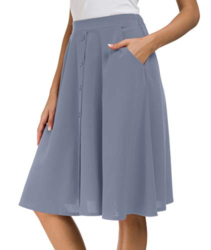 Afibi Women's High Waisted A Line Pleated Midi Skirt Button Front Skirts with Pocket (Small, Faded Blue)
