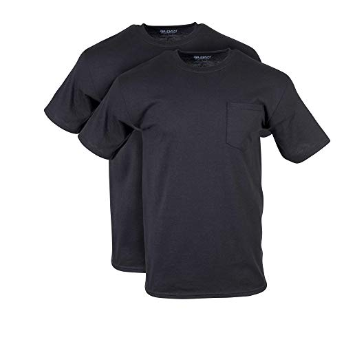 Gildan Men's DryBlend Workwear T-Shirts with Pocket, 2-Pack, Black, XX-Large (Black Mens Short Tee Sleeve)