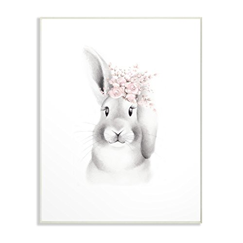 The Kids Room by Stupell Sketched Fluffy Bunny Flowers Wall Plaque Art, 10 x 0.5 x 15, Proudly Made in USA -
