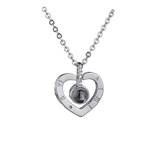 - small-animals-yo 2018 Rose Gold&Silver 100 Languages I Love You Projection Pendant Necklace Romantic Love Memory Wedding Necklace