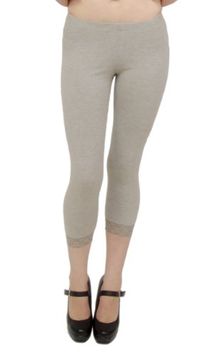 Vivian's Fashions Capri Leggings - Cotton, Lace Trim (Grey, Medium)
