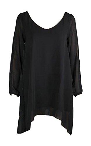 Vogue Sleeve Puff Top Dress Loose Cold Neck Shoulder Black Chiffon Womens V Cromoncent Short 1xwABnIx