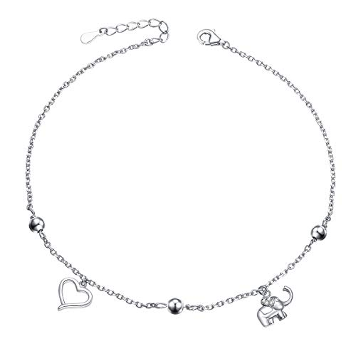 S925 Sterling Silver Lucky Elephant Love Heart Necklace Bracelet Anklet for Women Girls (elephant anklet) ()
