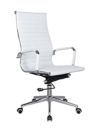 Amazon.com : Eames Replica high back office chair WHITE Pleather ...
