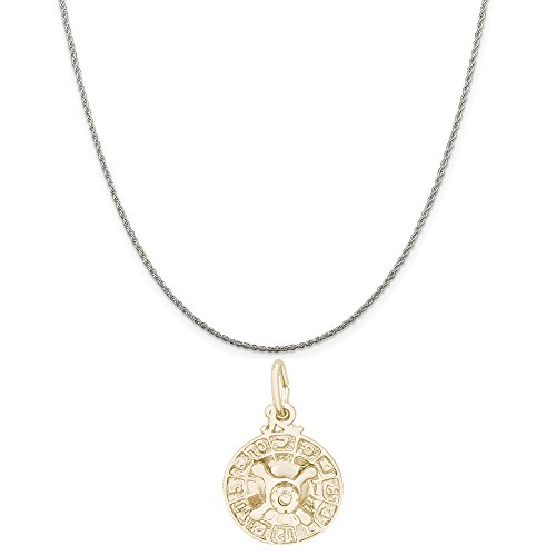 Rembrandt Charms Two-Tone Sterling Silver Roulette Wheel Charm on a Sterling Silver Rope Chain Necklace, 20