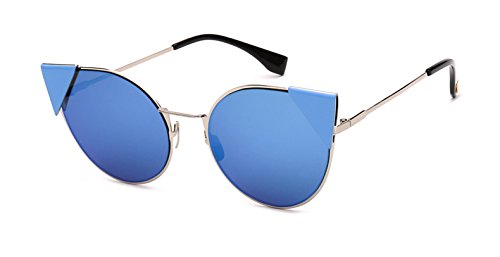 de Azul del Sol Oscuro Mujeres de Azul Oro de Gafas para Dise Ojos Gato Azul los Pynxn Las Oscuro Sol Gafas Marca Ador del de Rose Espejo de de Mujeres Azul BTPPpq