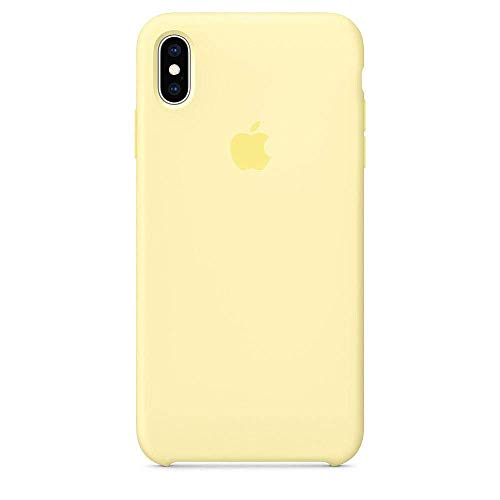 (iPhone Xs Liquid Silicone Case Fits iPhone Xs (5.8 inch), Gel Rubber Protection Shockproof Cover Case with Soft Microfiber Cloth Lining Cushion (Mellow Yellow))