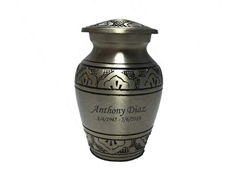 Customized Pewter Keepsake Cremation Urn, Funeral Tokens, Ash Urns with Personalized Engraving - Small -