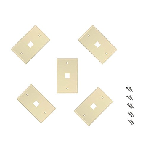 iMBAPrice 1 Port Flush Mount Keystone Jack Wall Plate 1-Gang - Ivory (Pack of 5)
