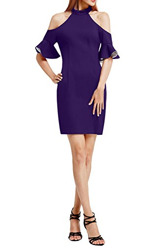 Chiffon Schlitz Kurz Violett Etui Festkleid Linie Abendkleid Vintage Ivydressing Rundkragen Promkleid Partykleid Damen waERqI