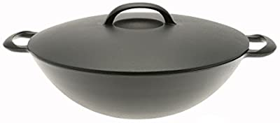 Iwachu Cast Iron Wok with Lid, Black