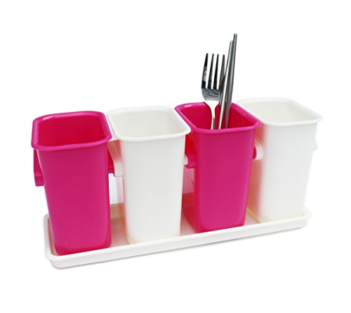 Honla Flatware/Silverware Caddy Holder with Plastic Tray Set-Interlocking Cutlery Drainer Organizer for Kitchen Countertop,Dining Table Storage,Pink and White