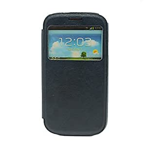 DUR Quality Sleep/Wake Up PU Full Body Case with Call Display Window for Samsung Galaxy S3 i9300 , Navy