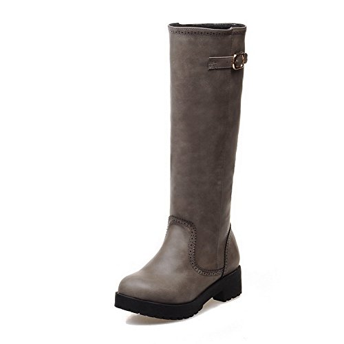 amp;N Leather Gray Square Imitated A Ladies Heels Boots Buckle Platform gdwxvUqHf