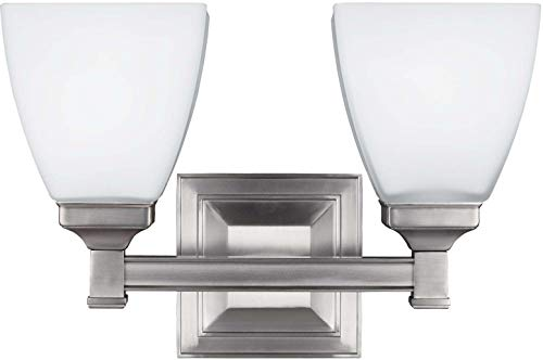 Feiss VS22802SN Putnam Glass Wall Vanity Bath Lighting, Satin Nickel, 2-Light (13