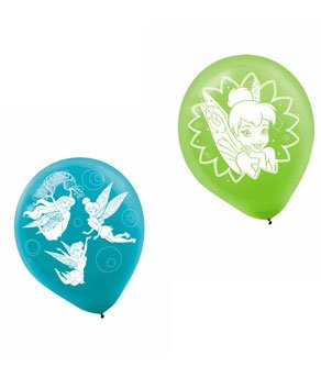 Disney Tinkerbell Birthday Party Latex Balloons (6 Pack), Blue/Green, 12