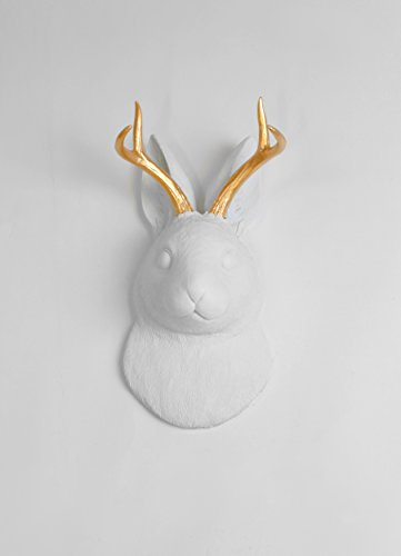 Wall Mount Sculpture - The Corduroy | White Faux Jackalope Head with Metallic Gold Antlers Wall Mount. Jackrabbit & Deer / Antelope By White Faux Taxidermy