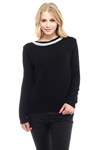 Rhinestone Trim Sweater - Sydney Women's Pearl & Rhinestone Trim Knit Sweater, Black, Small