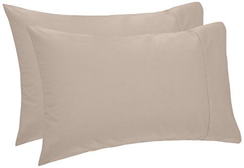 Pinzon 400-Thread-Count Egyptian Cotton Sateen Hemstitch Pillowcases - Standard, Taupe (Set of 2) - Cotton Sateen 400 Thread