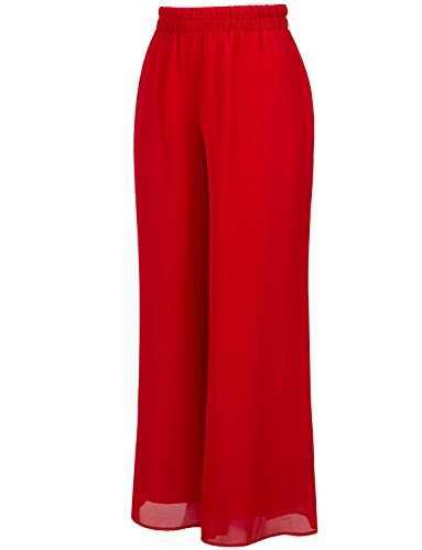 J. LOVNY Women's Soft Casual Loose Wide Leg Elastic Comfy Chiffon Pants (Plus Size 1X-3X) Red