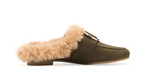 Femme Plat Vert Chaussures MSM4 Automne Muller Métal Chaussures Hiver Camel Green Anti laine Boucle dq4pqw7x