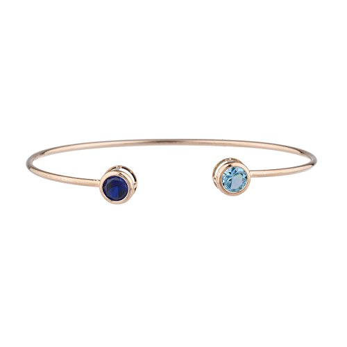 Elizabeth Jewelry Created Blue Sapphire & Simulated Blue Topaz Round Bezel Bangle Bracelet 14Kt Rose Gold Plated Over .925 Sterling Silver ()