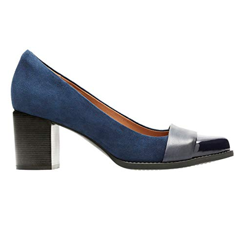 (CLARKS Women's Tarah Brae Loafer, Navy Suede/Leather Combi, 50 M US )