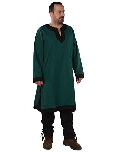 Arthur Medieval, Viking, LARP and Tunic - Made in Turkey by bycalvina,Forest Green/Black,4XL