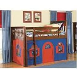 Bolton Furniture 9921600LT1BR Mission Twin Low Loft Bed, Cherry, with Blue-Red Bottom Playhouse Curtain