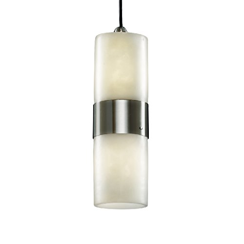 Justice Design Group - Clouds Collection - Dakota Small Up & Downlight Pendant - Cylinder with Flat Rim - Brushed Nickel Finish