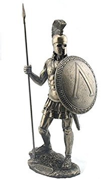 14.38 Inch Spartan Warrior with Spear and Hoplite Shield Figurine ()