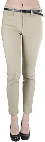 Khaki Ankle Pants (ToBeInStyle Women's Belted Bengaline Ankle Length Pants - New Khaki - Small)